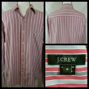 J Crew Men's M Red Black White Blue Striped Shirt