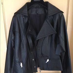 EDUN Jackets & Blazers - NWT EDUN oversized zip front leather jacket