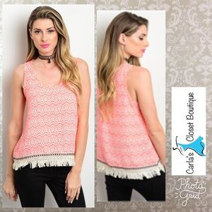 Tops - Neon Coral Tank with Fringe
