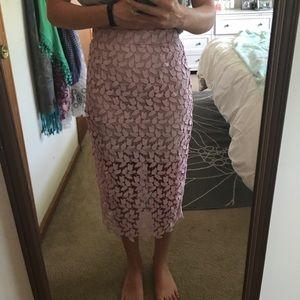 Bardot midi floral lace skirt. NWT.