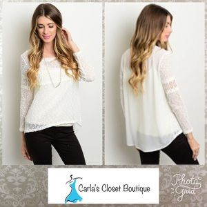 Tops - Gorgeous White Sheer and Knit Top