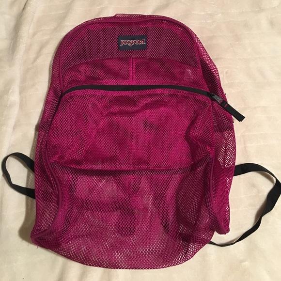 JanSport Purple Mesh Backpack Beach Bag Gym