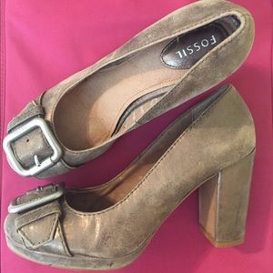 Fossil Shoes - Fossil Metallic Buckle Heels, Size 8