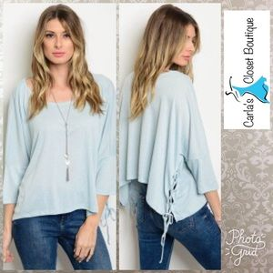 Tops - Light Blue Jersey Top with Lace Sides