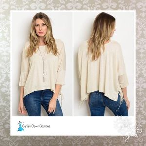 Tops - Beige Jersey Top with Lace Up Sides