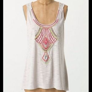 Anthropologie Embroidered Beaded Tank Sz P