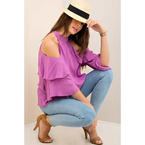 UNDER $30 CLOSET CLEAR OUT ORCHID RUFFLE BLOUSE From