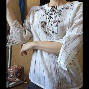 White Stag Tops - Boho Leather Lace Up Peasant Blouse