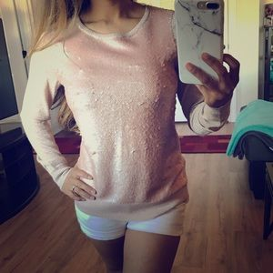 H&M Rose Gold Pink Sequin Sweater