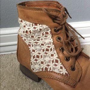 88da00c8408 Steve Madden Shoes - Thundr-C Cognac Multi Crocheted Lace Up Boots