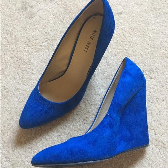 56 nine west shoes royal blue wedge heels size 7