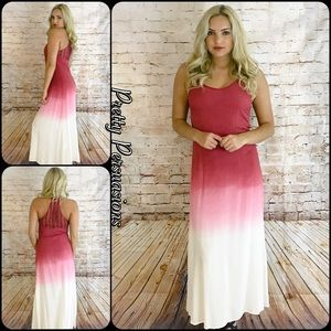 Pretty Persuasions Dresses & Skirts - NWT Wine Pink Ivory Ombré Crochet Back Maxi Dress