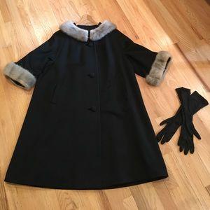 Custom Jackets & Blazers - Vintage Mink-Cuffed/Collared Swing Coat & Gloves
