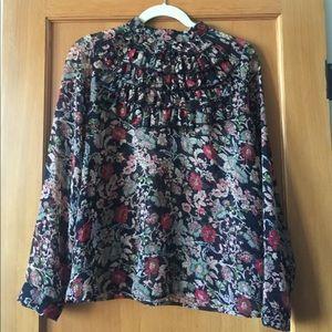 Zara Sheer Black Floral Blouse with Ruffles