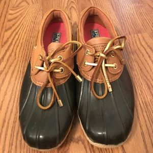 Sperry rubber and leather duck boots