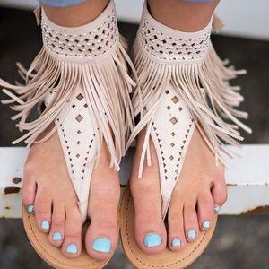 Shoes - BEIGE Fringe for Miles Sandals
