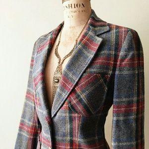 Vintage plaid wool blazer