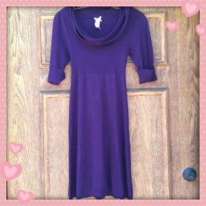 Derek Heart fitted purple cowl neck dress - small