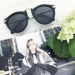 """Erica Rose Accessories - """"Margot"""" Sunglasses    Black & Gold Rounded"""