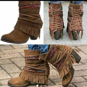 naughty monkey Shoes - Naughty Monkey Fringe and Lace Suede Boot NWT sale