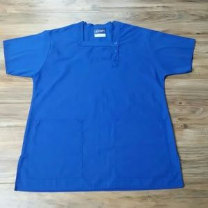 Crest Tops - Crest square neck scrub top button top