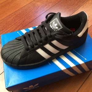 adidas Shoes - NEW in BOX Adidas Superstars Black Leather