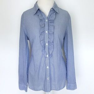 L.L. Bean Tops - LLBean blue white striped ruffle button down shirt