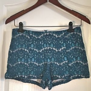 Lily White  Pants - Lily White Teal Lace Shorts