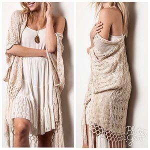 "Sweaters - •LAST ""Kara"" Crochet Knit Fringe Cardigan (S/M)"