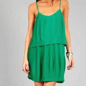 Parker Pleated Double Layered dress KELLY GREEN