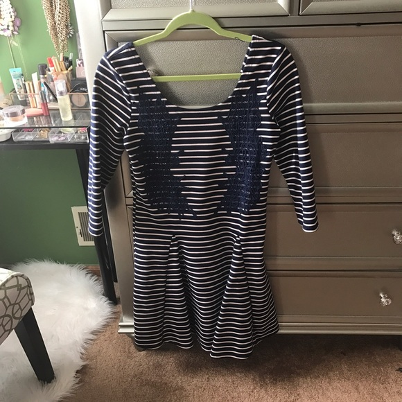 Free People Dresses - Free People Navy Striped Skater Dress