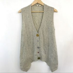 Moth Mixed Button Metallic Wool Cardigan Knit Vest