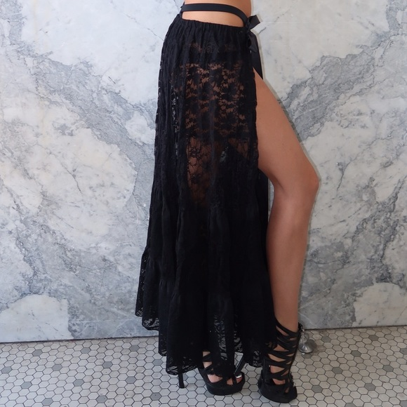 greatvarieties professional design 50% off Black Floral Sheer Lace Wrap around Maxi Skirt NWT