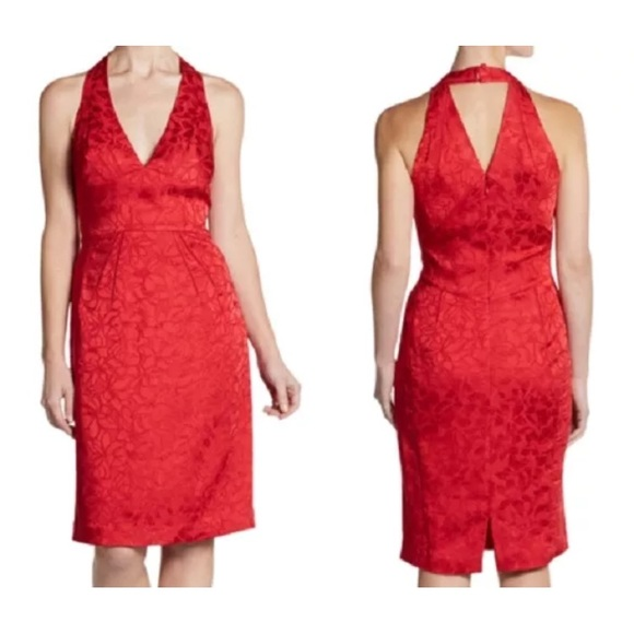Zac Posen Red Silk Floral Brocade Halter Dress