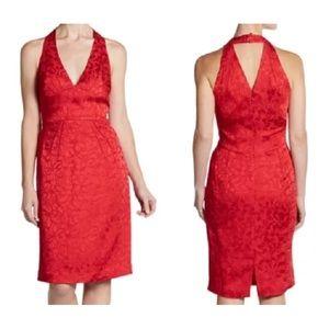 Zac Posen Dresses - Zac Posen Red Silk Floral Brocade Halter Dress