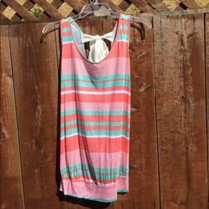 Tops - Striped Tank with Oversized Bow