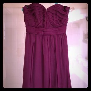 Eggplant silk Amsale floor length bridesmaids gown