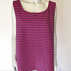 {gap} pink and blue striped tank top