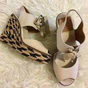 Tory Burch wedge espadrilles Peep toe sandal size7