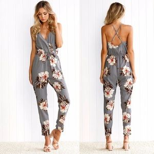 Other - Floral Criss Cross Backing Jumpsuit