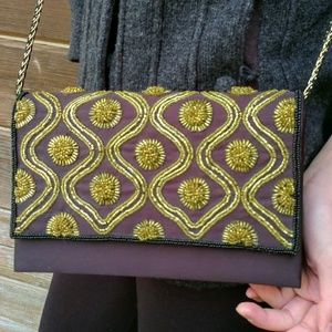 Stunning Black & Gold Beaded Evening Purse