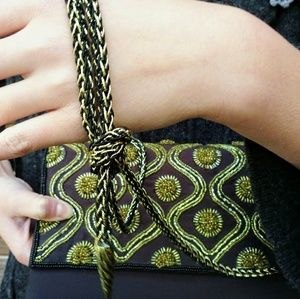 Carla Marchi Bags - Stunning Black & Gold Beaded Evening Purse