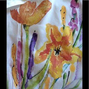 Vintage Tops - Rene DE FRANCE Handpainted Garden Flower Bouquet