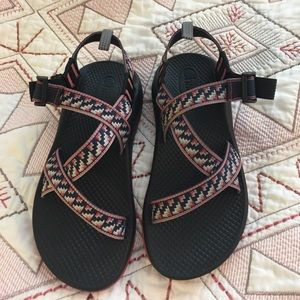 Chacos sandals - no toe loop - blue/red/grey