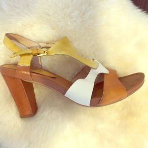 PIKOLINOS Shoes - Leather Brown Yellow Stack Heel ColorBlock Sandals
