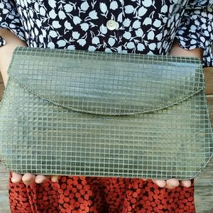 Vintage J. Renee Clutch Purse Greenish Gold Sheen