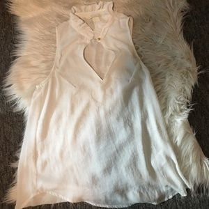 H&M white ruffle blouse