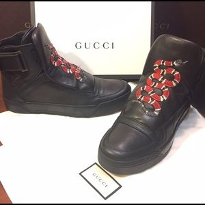 gucci leather high top with snake