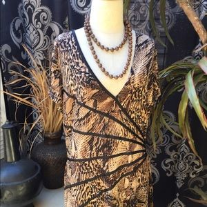 "Connected apparel Dresses & Skirts - ""Connected"" short sleeve animal print dress sz 16"