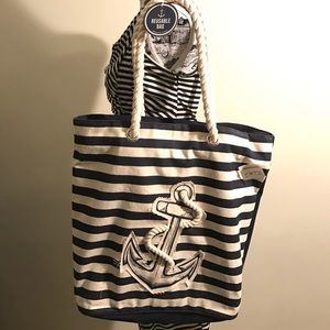 Anchor embellished navy striped tote